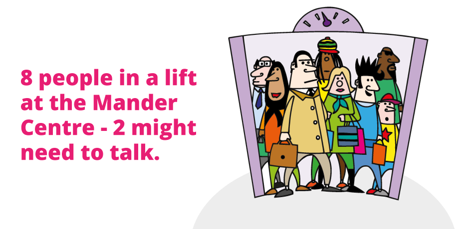 8 people in a lift at the Mander Centre - 2 might need to talk